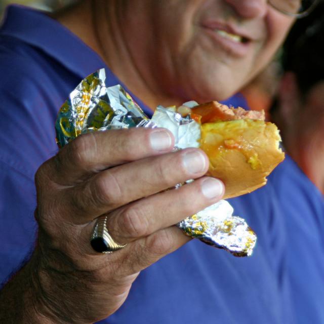 Man in a blue shirt eats a hot dog at a baseball game