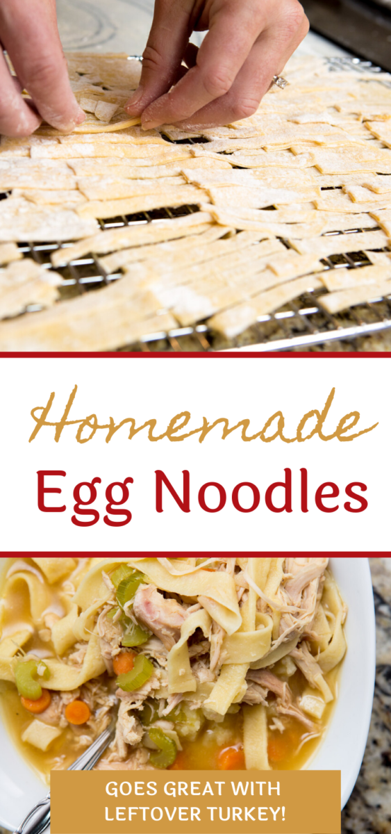 These homemade egg noodles are quick, easy and a great way to get kids in the kitchen! Try them in Turkey and Noodles, a great way to use Thanksgiving leftovers.