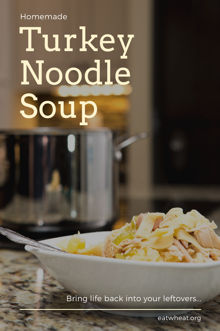 Turkey Noodle Soup poured over mashed potatoes. A perfect way to bring life back into holiday leftovers