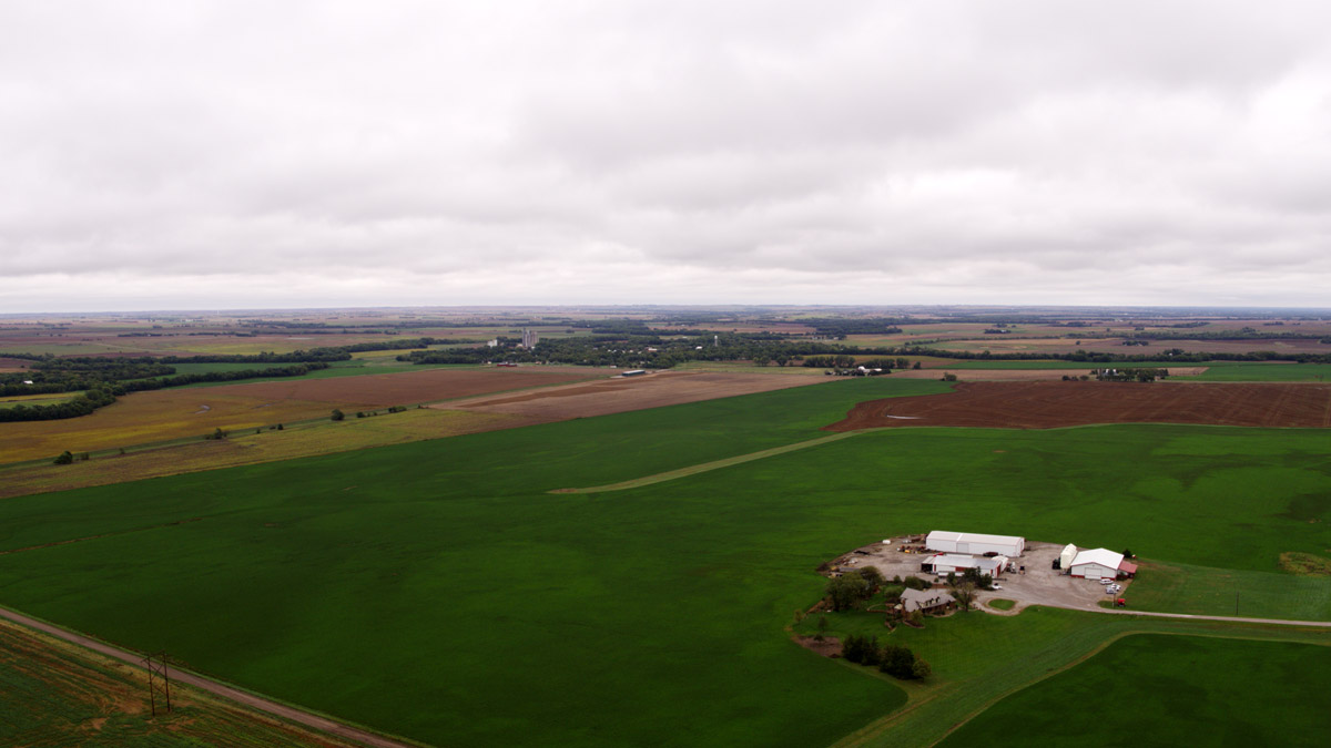 Knopf family farm aerial view