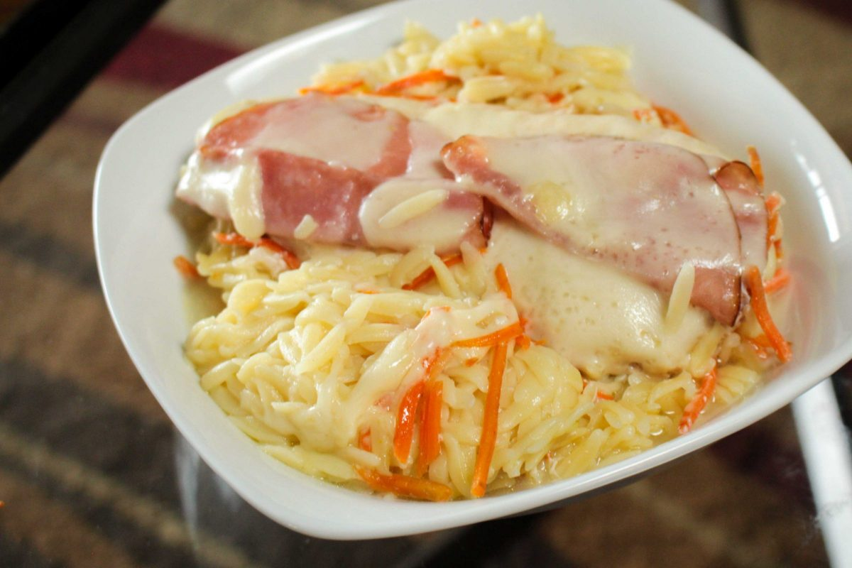 Orzo is a short-cut pasta that's shaped like a grain of rice. It can be served alone, with soup or salad or with this delicious Chicken Cordon Bleu recipe.