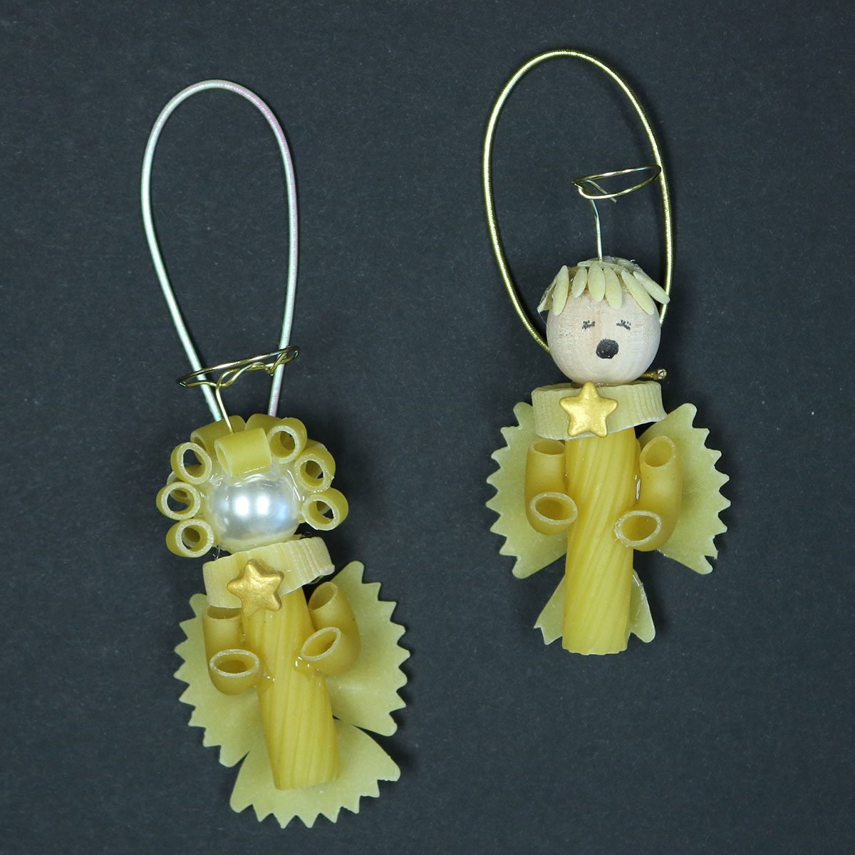 DIY Pasta angels made with wheat pasta, pearls and wire halos ready to hang on a tree.