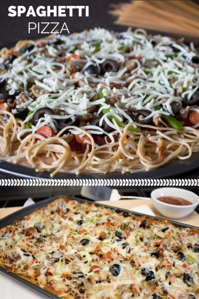 Spaghetti Pizza is a quick and easy meal