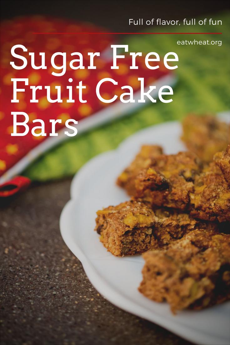 Sugar-Free Fruit Cake Bars on a platter