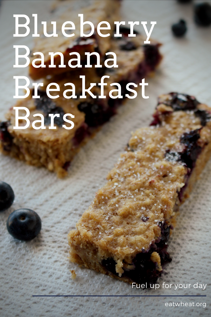 Blueberry Banana Breakfast Bars are a whole grain snack that's perfect for the whole family!