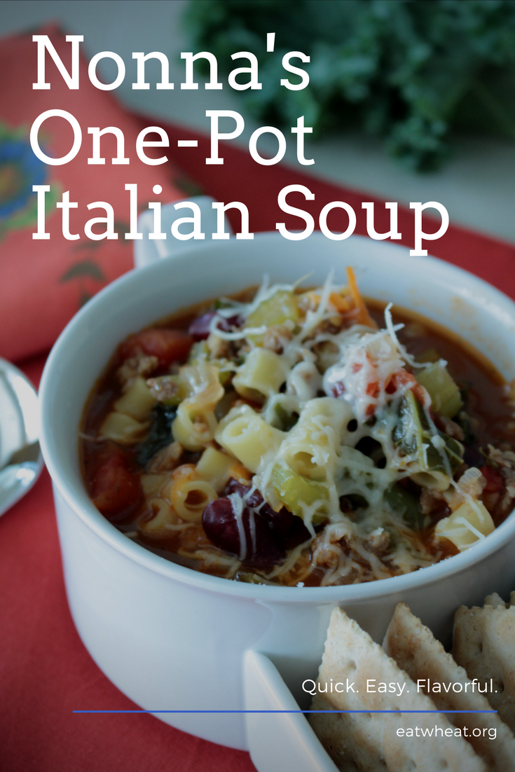 Nonna's One-Pot Italian Soup served up hot and fresh is an easy weeknight recipe!