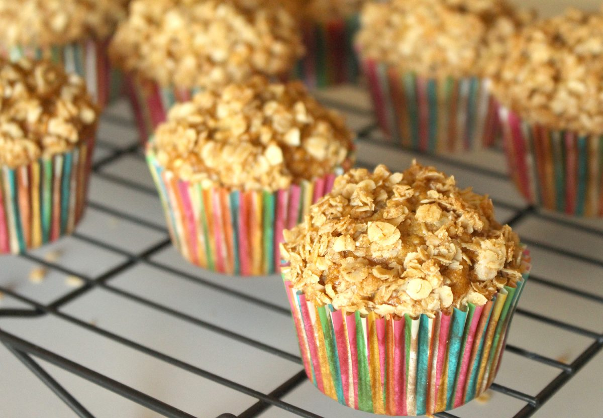 Photo: Healthy Whole Grain Applesauce Oatmeal Muffins.