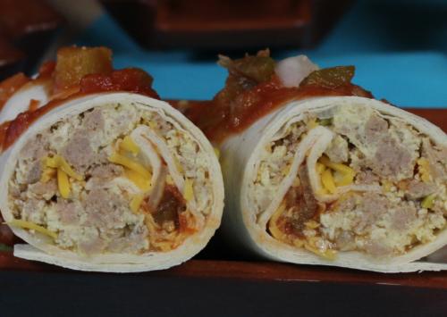 Photo: Make-ahead favorite breakfast burritos.