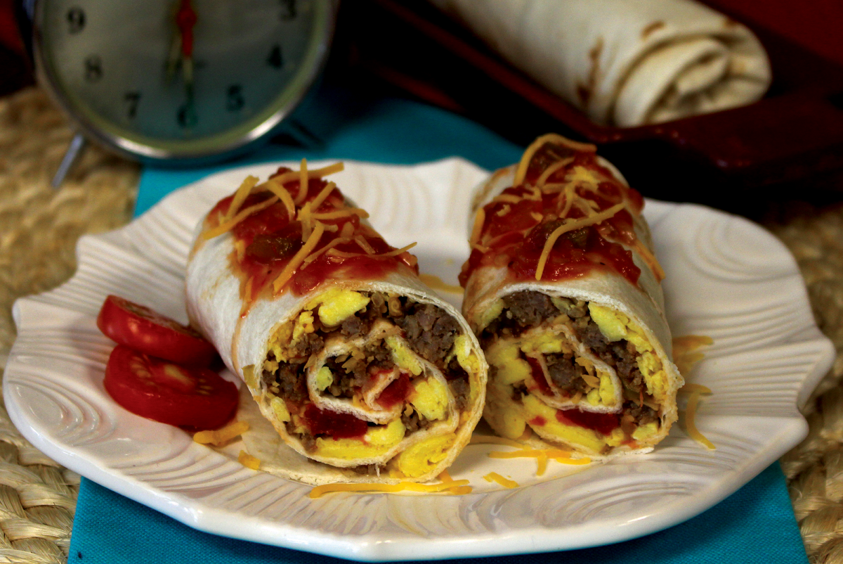Photo: Make-ahead favorite breakfast burritos.