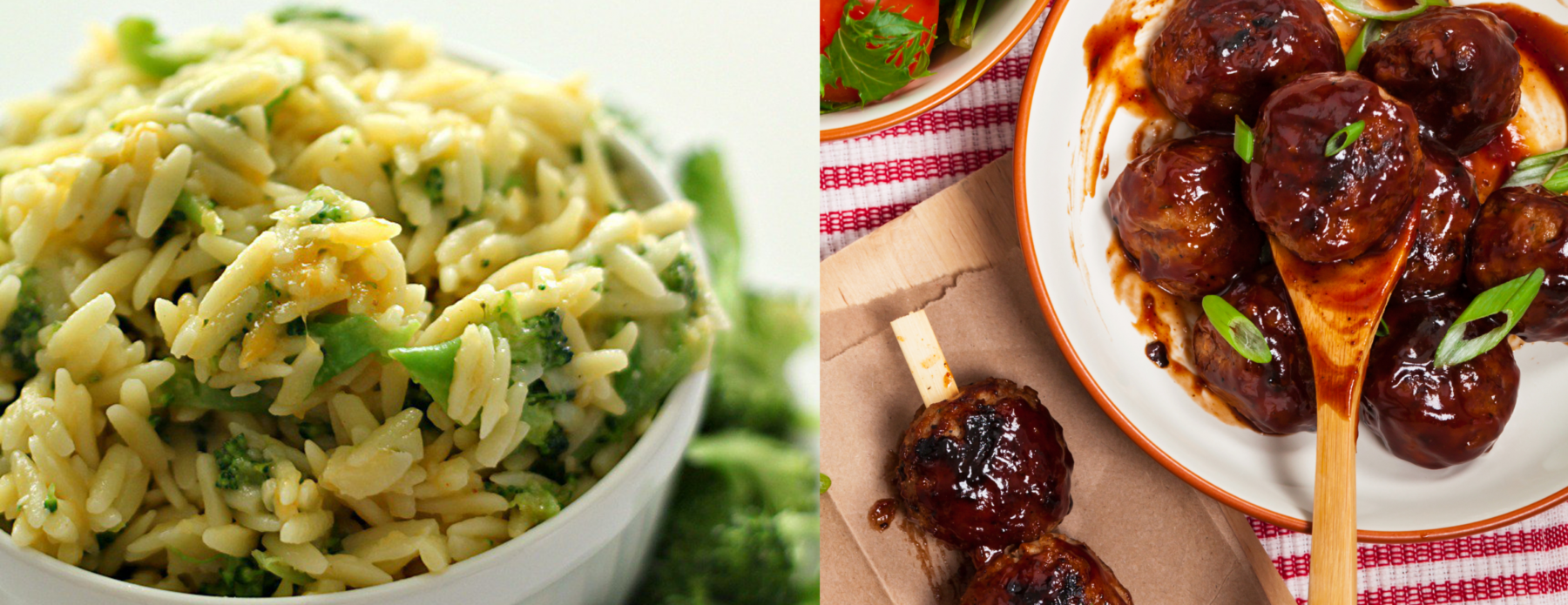 Photo: Cheesy broccoli orzo and barbecue meatballs.