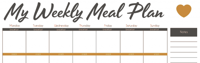 Image: My weekly meal plan.