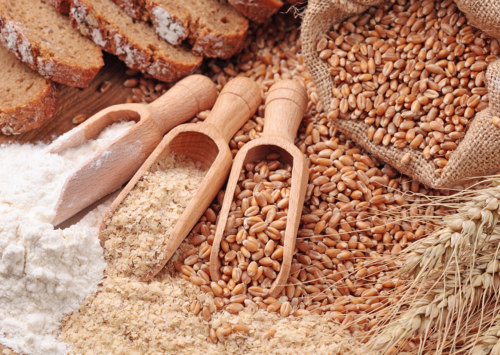 Photo: Whole grains, wheat, flour, bran.
