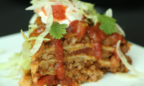 Photo: Chuckwagon tortilla stack that makes a quick weeknight recipe.