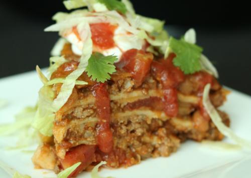 Photo: Chuckwagon tortilla stack that makes a quick weeknight recipe.