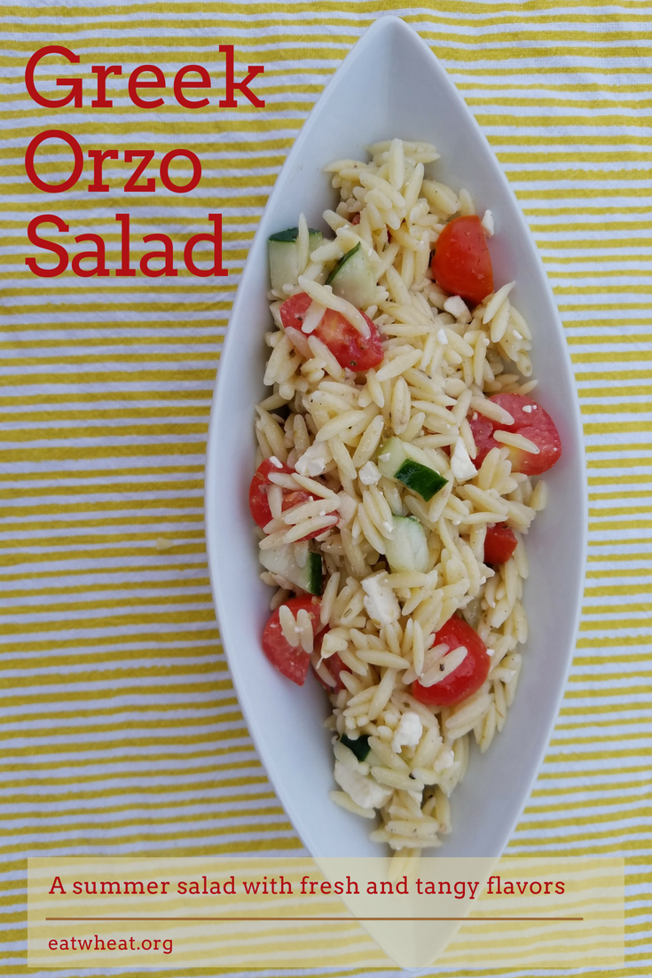 This Greek Orzo Pasta Salad is quick to make and is great as a side or summertime meal by adding grilled chicken. Enjoy the leftovers over a bed of lettuce or in a wrap. eatwheat.org