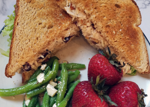 Photo: Cranberry almond chicken salad sandwich.