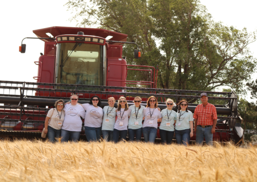 Photo: Food bloggers visit a Kansas wheat field during harvest.