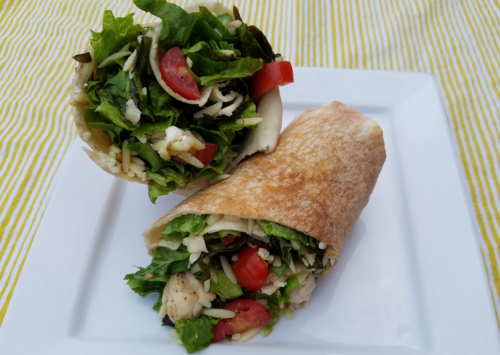 Photo: Summer meal idea - grilled chicken Greek orzo wrap.