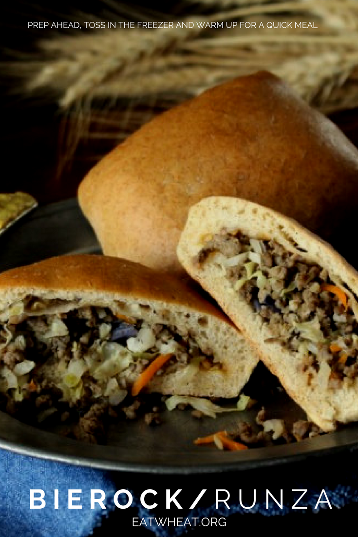 Bierocks... Runzas... Same thing! These meat & cabbage filled bread pockets are a MidWest fave! Make them ahead of time, put 'em in the freezer and pop 'em out when you're ready to warm them up!