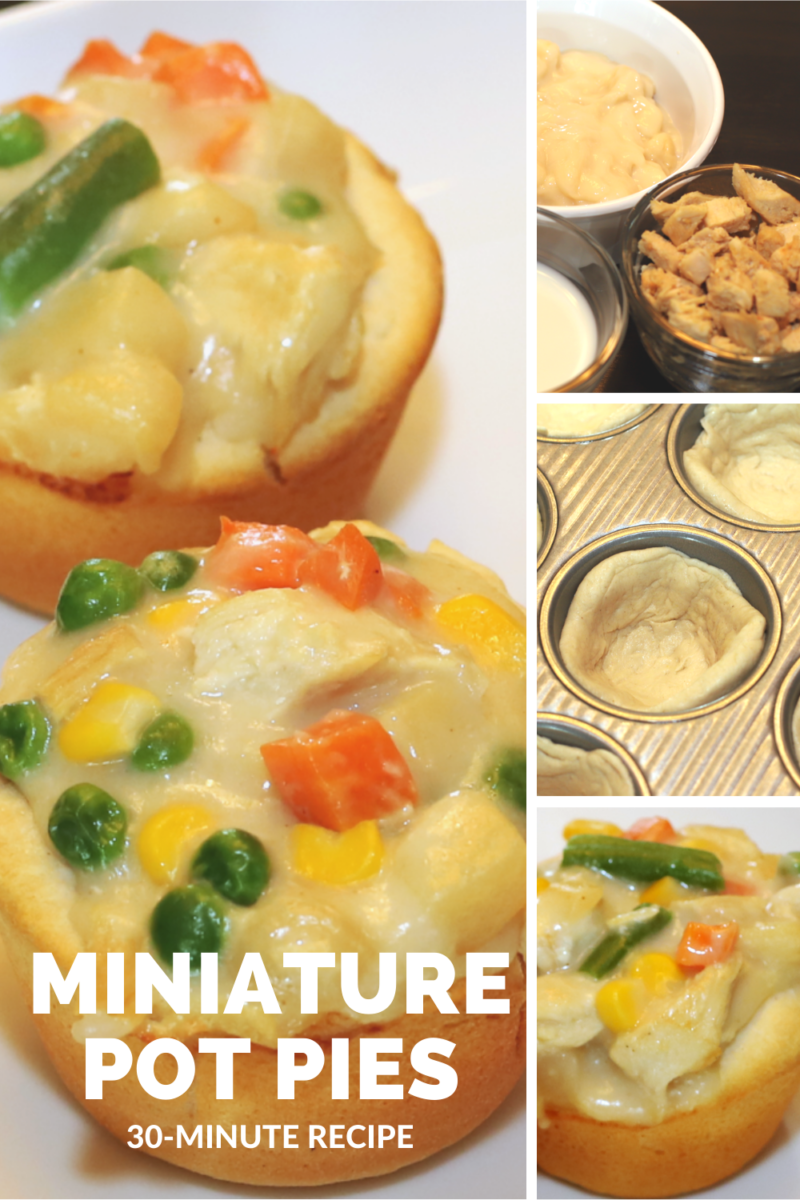 These Miniature Pot pies are a delicious, easy and QUICK meal that your family will love. Customize with your favorite veggies.