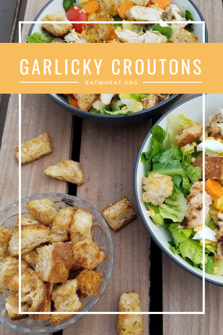 Garlicky whole wheat homemade croutons can be made with day-old leftover bakery bread. Use these tasty croutons to top your favorite salad or soup. eatwheat.org