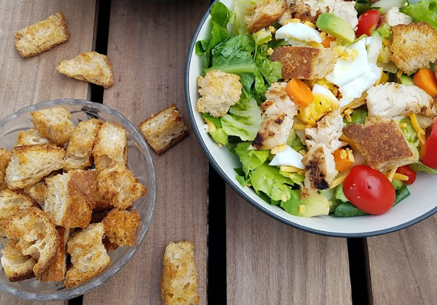 Photo: Garlicky Whole Wheat Homemade Croutons.