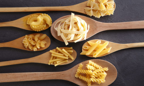 Photo: Variety of pasta shapes and types.