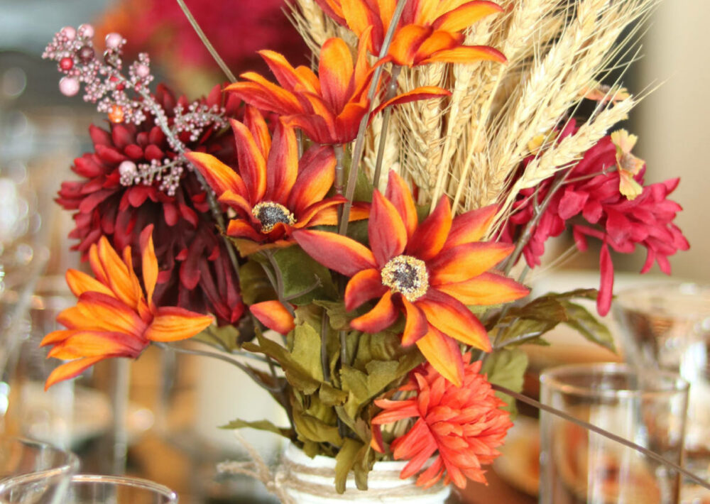 Photo: Wheat fall Thanksgiving centerpiece.