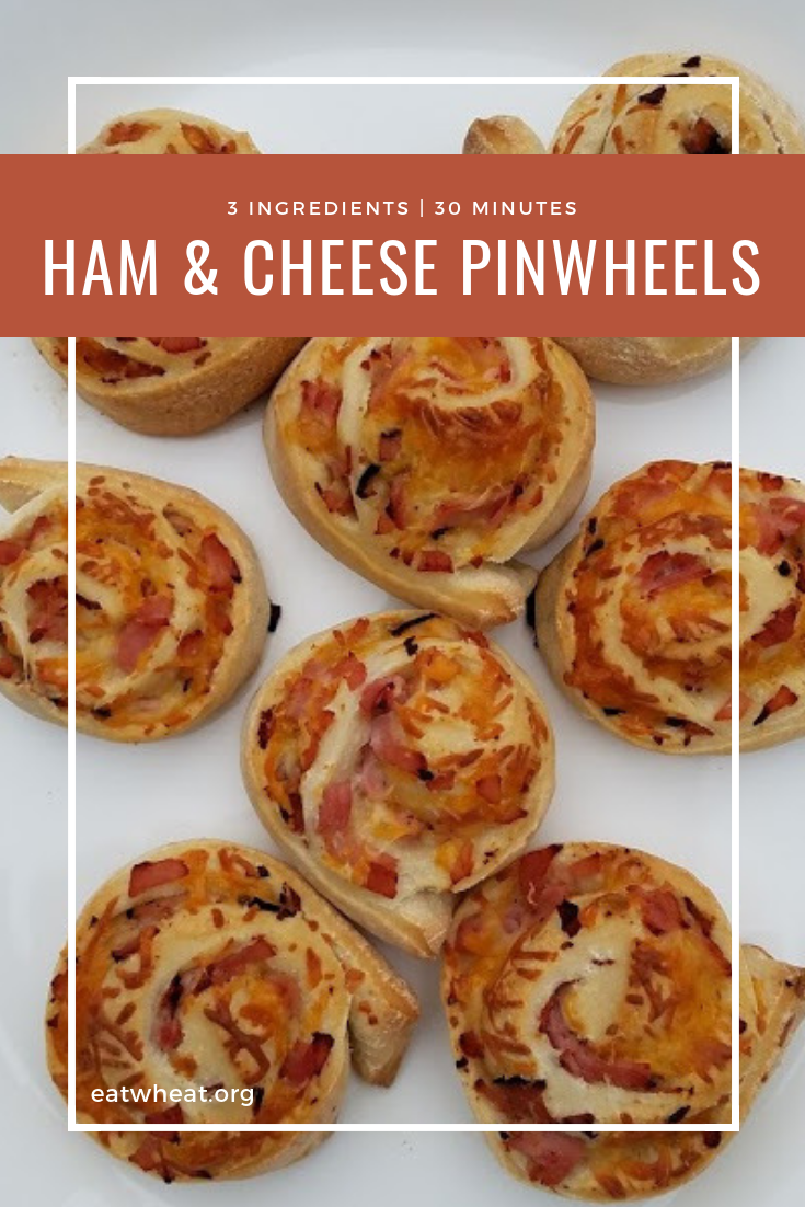 These 3-ingredient Ham & Cheese Pinwheels can be on the table in 30 minutes for a quick weeknight meal or served as an appetizer for your next get together. | eatwheat.org