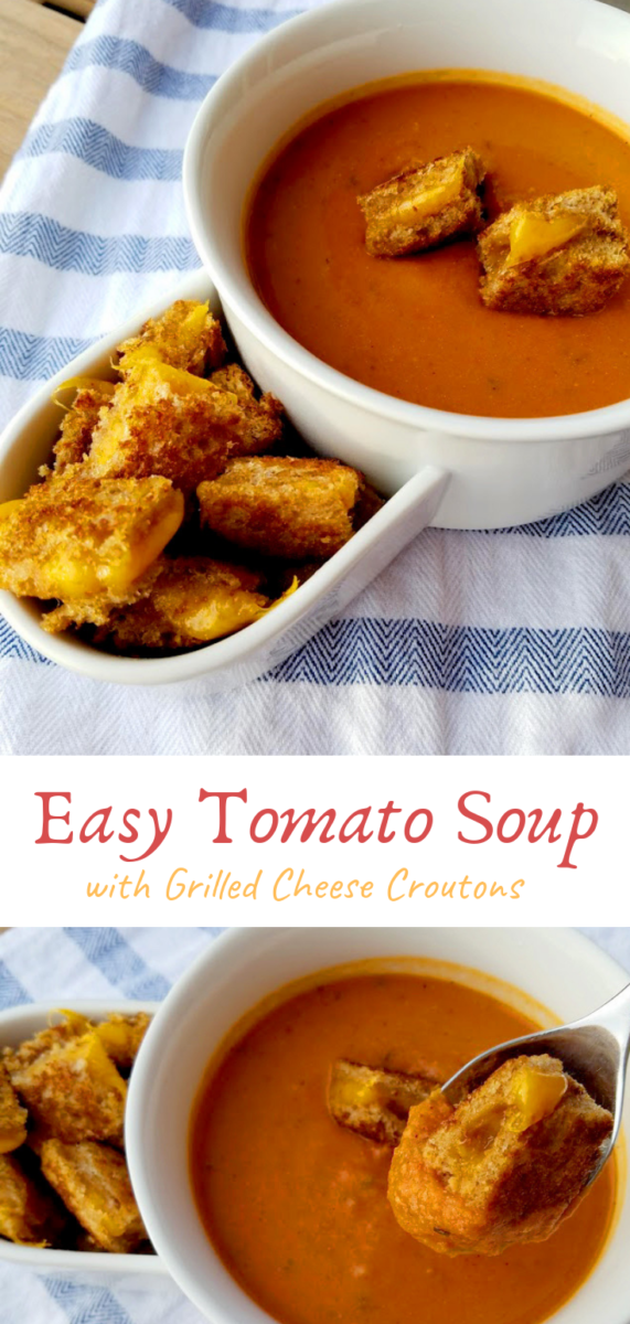 Warm up with a cup of tomato soup topped with crispy grilled cheese croutons! This homemade tomato soup is packed with red-orange veggies and is the perfect meal for those cold winter nights!