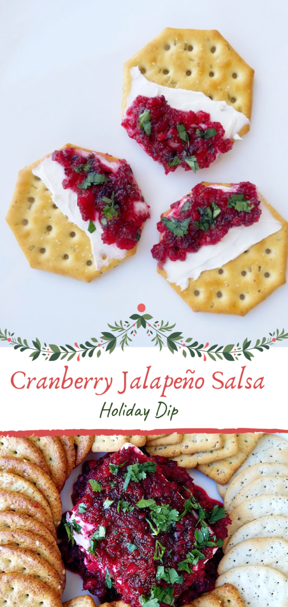 Looking for a festive appetizer this holiday season? Look no further than this Cranberry Jalapeño Salsa served over cream cheese. Serve with assorted crackers and guests will literally be digging into this tasty holiday dip.