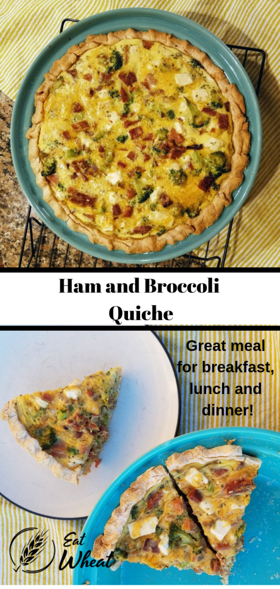 Quiche is often thought of as a brunch food but quiche can be enjoyed for breakfast, lunch or dinner. The addition of feta to this traditional ham and broccoli quiche takes the flavor up a notch. Serve with a side of fruit for a complete meal. | eatwheat.org