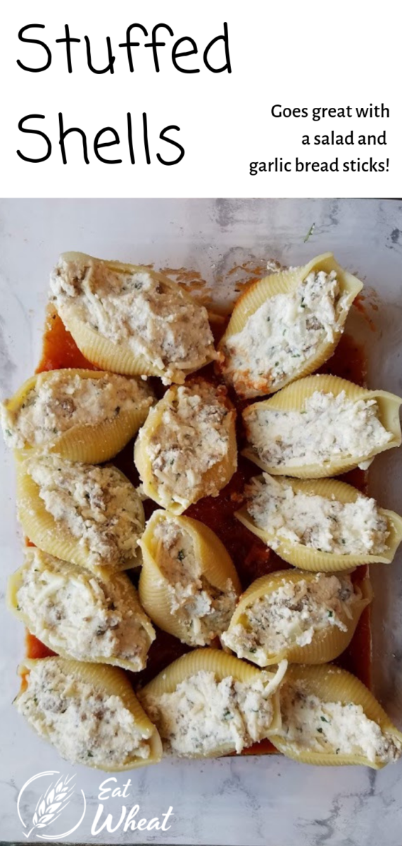 Stuffed shells are my husband's favorite meal. I like that when I make them, I get three meals, two of which go straight into the freezer for 'as you need it' freezer meals! Pair with lettuce salad, roasted green beans and garlic breadsticks. These make for a delish weeknight meal... And future you will be grateful for the 2 bonus meals!   eatwheat.org