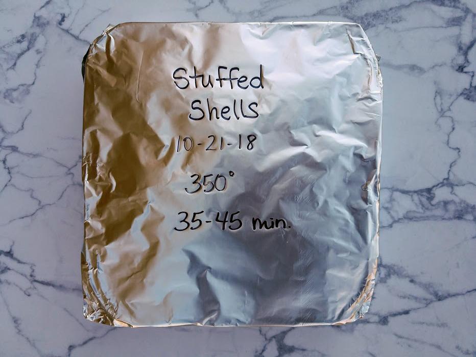 Photo: Stuffed pasta shells freezer meal.