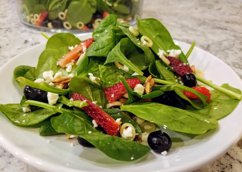 Strawberry Spinach Salad with Ditalini and Candied Almonds
