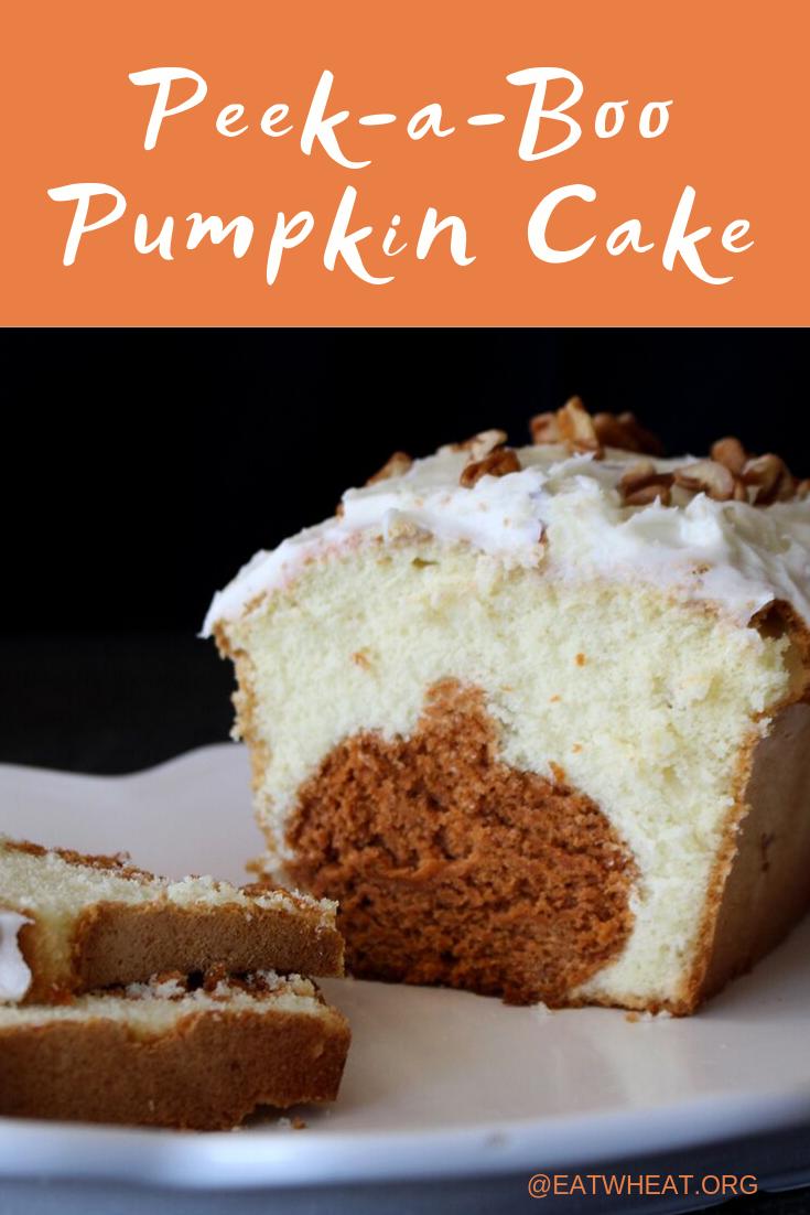 Peek-a-boo pumpkin cake.