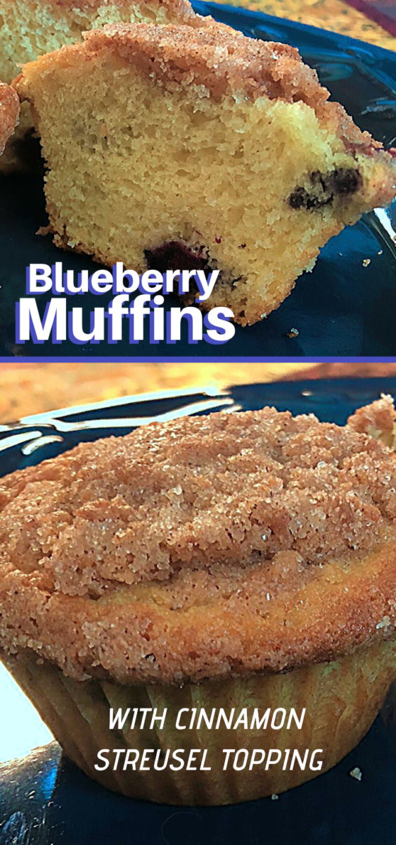 These quick and easy blueberry muffins get kicked up a notch or two with the sweet streusel topping!