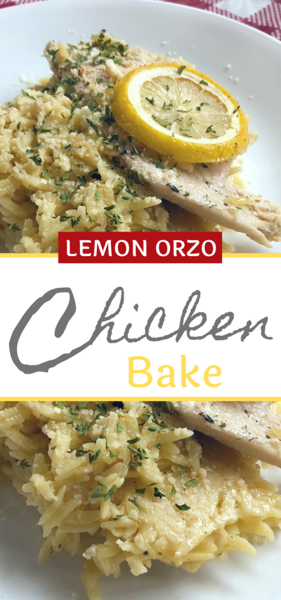 Lemon Orzo Chicken Bake on a place serve with a lemon garnish