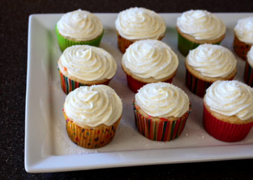 Perfect cupcakes for parties, Celebration Cupcakes in colorful wrappers on white plate