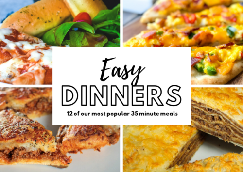 Easiest dinner recipes photo collage with stuffed shells, naan breakfast pizza, Italian Crescent Casserole and Layered Taco Casserole