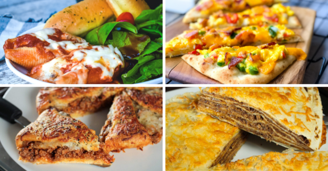 easiest dinner recipes photo collage with four popular recipes featured.