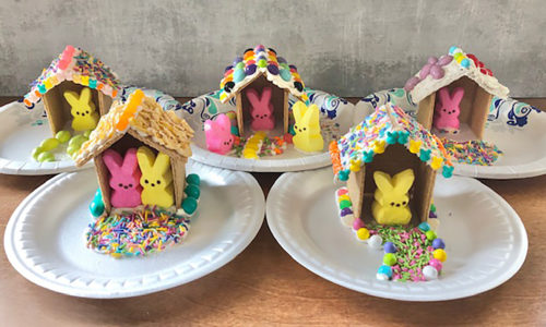 Image: Easter peeps graham cracker houses.