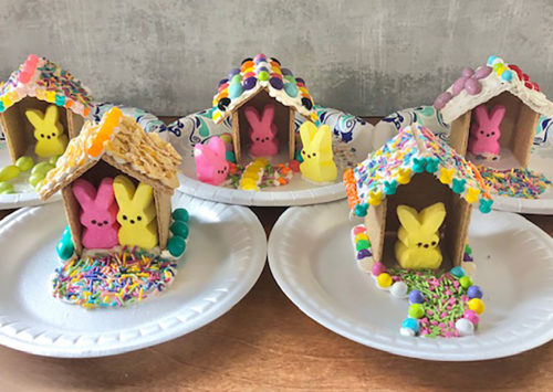 Image: Easter peeps graham cracker houses.