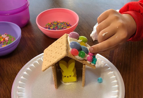 Photo: Decorating graham cracker houses.
