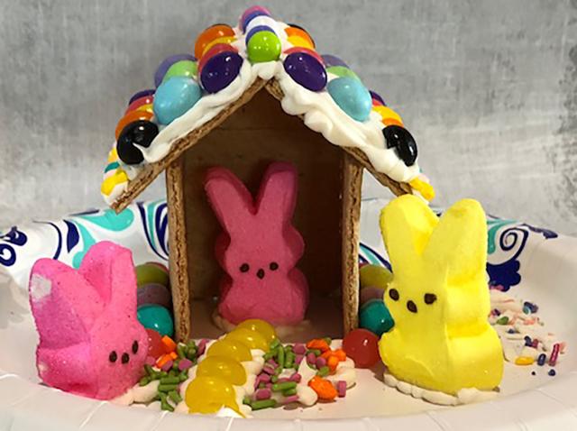 Photo: Easter peeps graham cracker houses.
