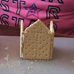 Photo: Graham cracker house step 1.