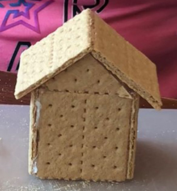 Photo: Graham cracker house step 2.