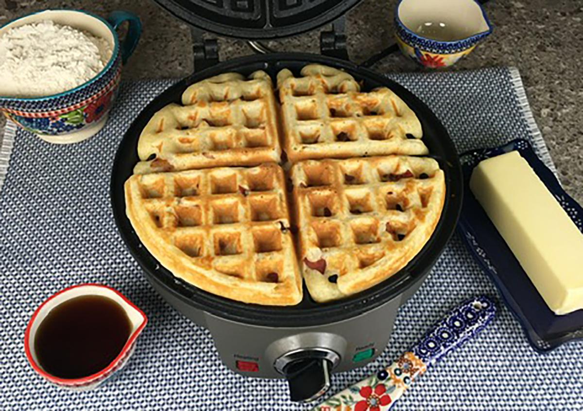 Photo: Self-rising bacon waffles.