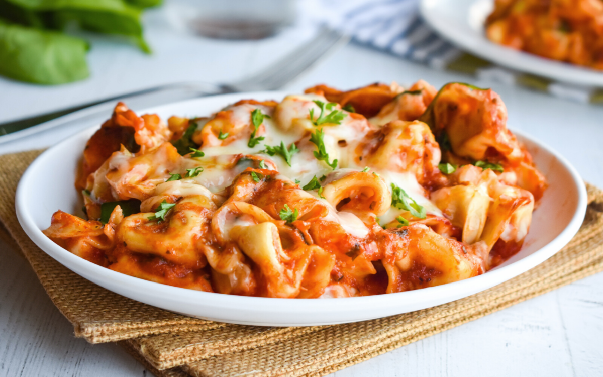 Photo: Baked Cheesy Spinach Tortellini.