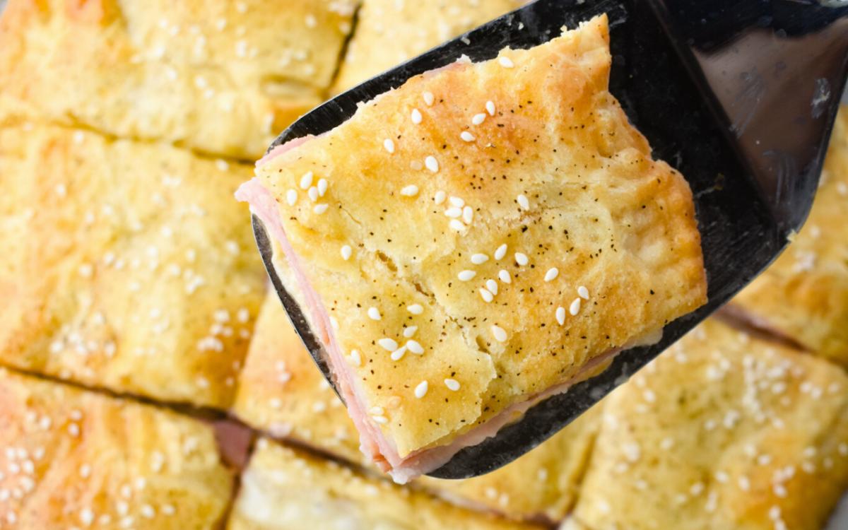 Image: Ham and Cheese Slab Pie.